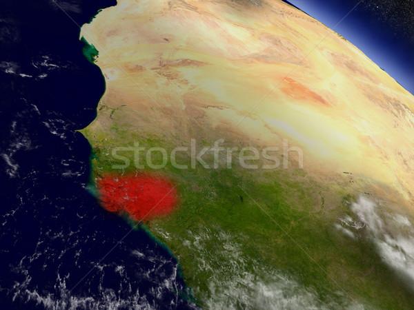 пространстве красный орбита 3d иллюстрации подробный Сток-фото © Harlekino