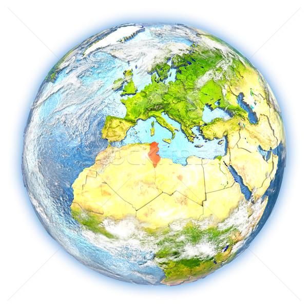 Тунис земле изолированный красный планете Земля 3d иллюстрации Сток-фото © Harlekino
