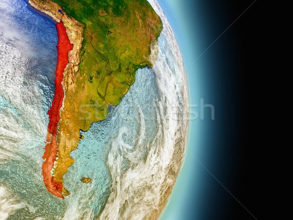 Chile piros űr modell pálya 3d illusztráció Stock fotó © Harlekino