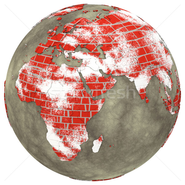 Africa on brick wall Earth Stock photo © Harlekino