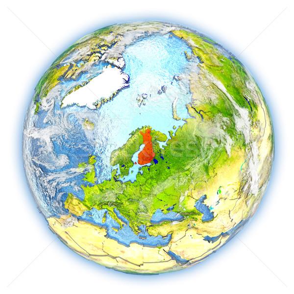 Finlândia terra isolado vermelho planeta terra ilustração 3d Foto stock © Harlekino
