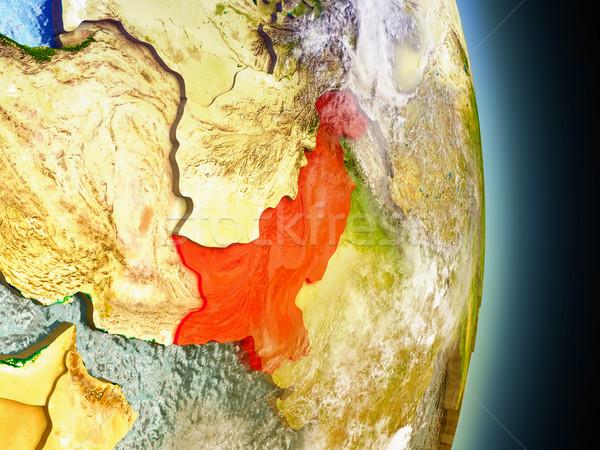 Pakistan Rood ruimte model 3d illustration Stockfoto © Harlekino