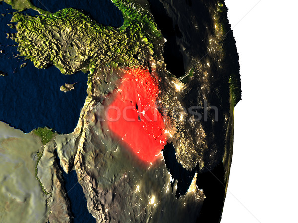 Iraq from space during dusk Stock photo © Harlekino