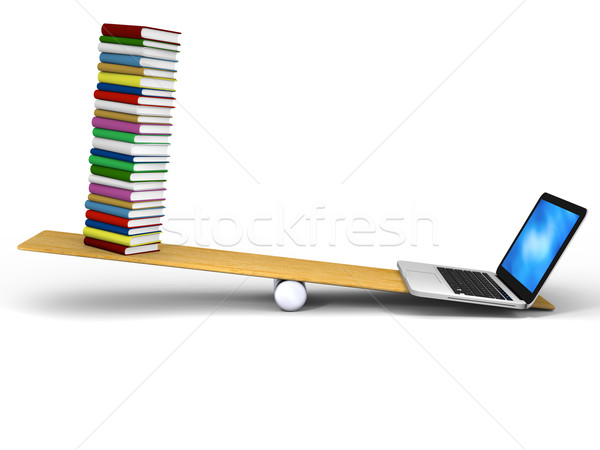Technology versus books Stock photo © Harlekino