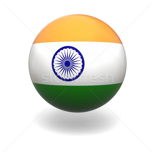 Сток-фото: индийской · флаг · Индия · сфере · изолированный · белый