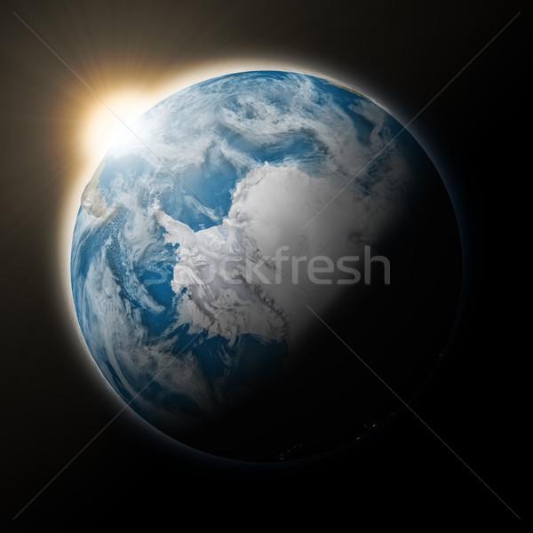Foto d'archivio: Sole · pianeta · terra · blu · isolato · nero