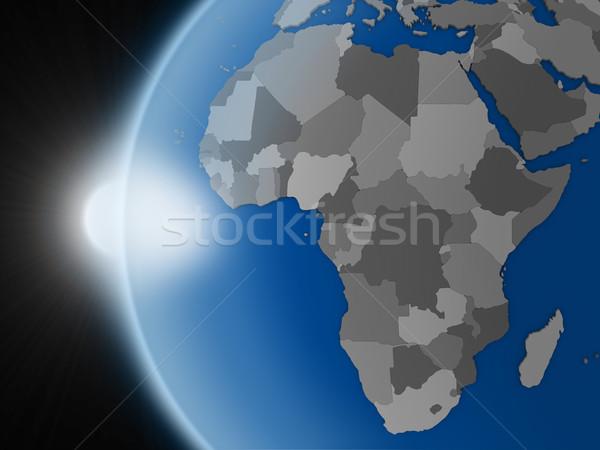 Stockfoto: Zonsondergang · afrikaanse · continent · ruimte · aarde · politiek