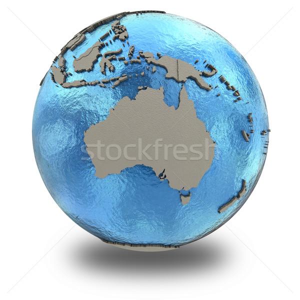 Australia on model of planet Earth Stock photo © Harlekino