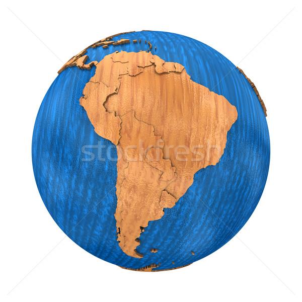 Güney amerika ahşap toprak model dünya gezegeni kıtalar Stok fotoğraf © Harlekino