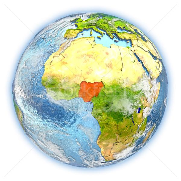 Nigeria ziemi odizolowany czerwony planety Ziemi 3d ilustracji Zdjęcia stock © Harlekino