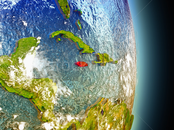 Jamaica in red from space Stock photo © Harlekino