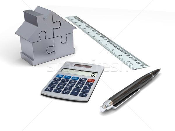 Ház finanszírozás számológép toll vonalzó ezüst Stock fotó © Harlekino
