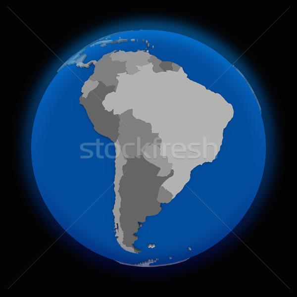 Sud america politico terra mondo nero mappa Foto d'archivio © Harlekino