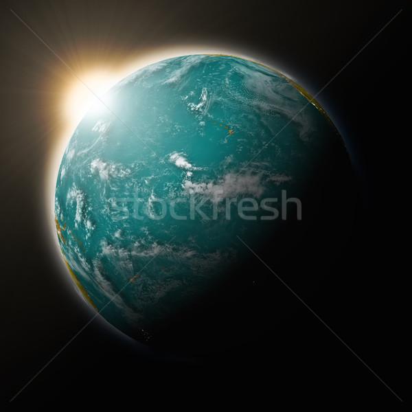 солнце океана планете Земля синий изолированный черный Сток-фото © Harlekino
