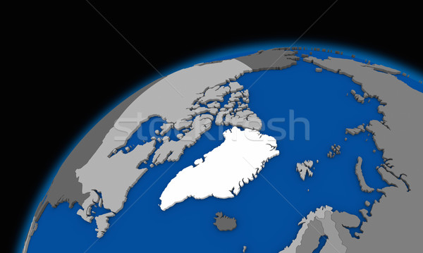 Stock photo: Arctic north polar region on planet Earth political map
