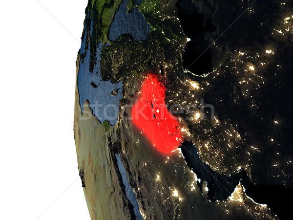 Pôr do sol espaço vermelho terra ilustração 3d Foto stock © Harlekino