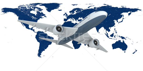 Воздушные путешествия Flying самолета карта земле изолированный Сток-фото © Harlekino