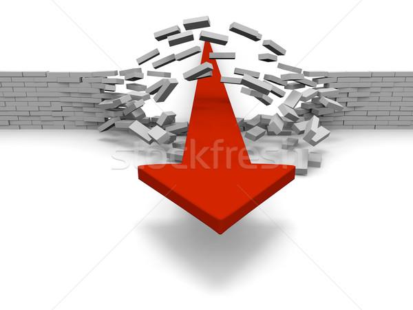 Czerwony arrow murem sukces przełom Zdjęcia stock © Harlekino