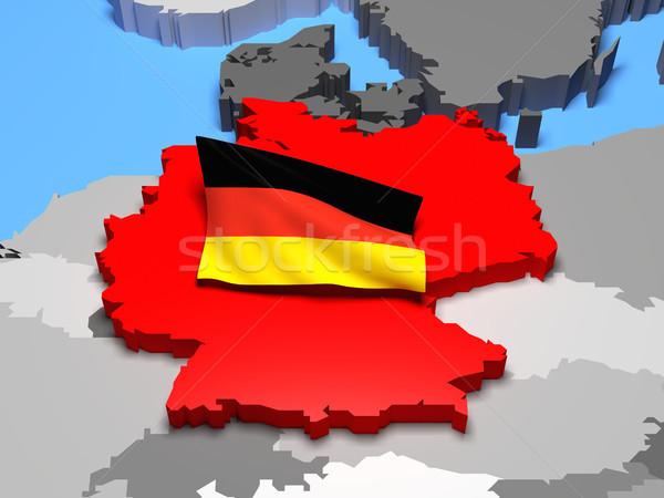 Germany with national flag Stock photo © Harlekino