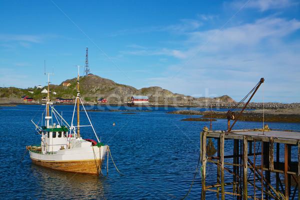漁船 桟橋 伝統的な ノルウェーの 島々 ノルウェー ストックフォト © Harlekino