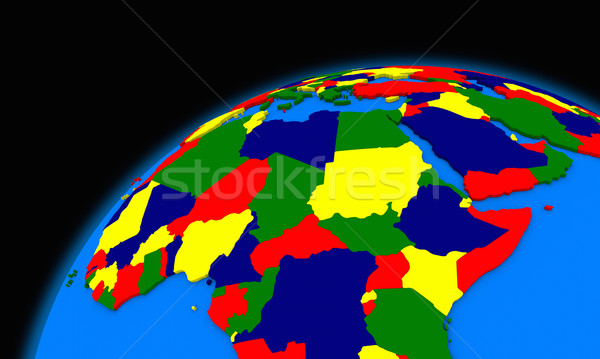 central Africa on planet Earth political map Stock photo © Harlekino