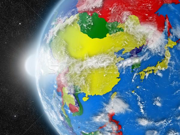 Ázsia régió űr Föld politikai keretek Stock fotó © Harlekino