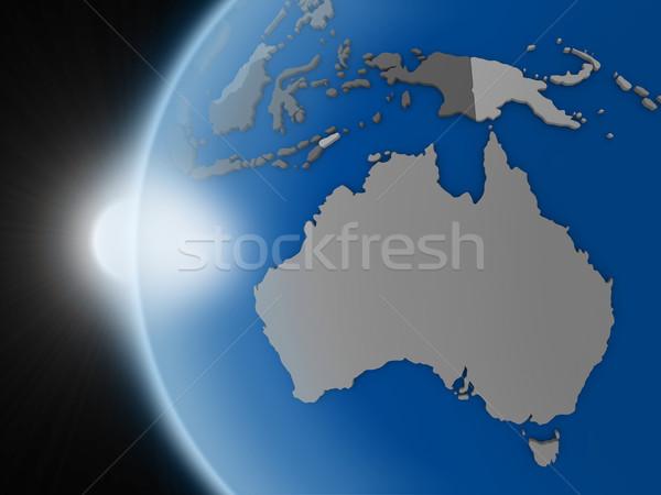 Coucher du soleil continent espace planète terre politique Photo stock © Harlekino