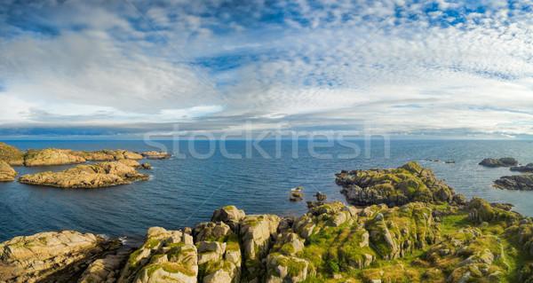 Kust panorama panoramisch luchtfoto eilanden Noorwegen Stockfoto © Harlekino
