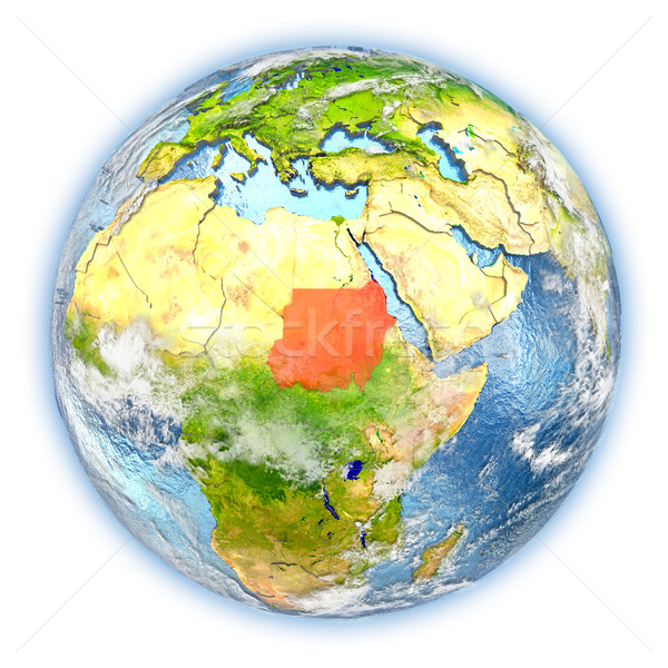 Soedan aarde geïsoleerd Rood aarde 3d illustration Stockfoto © Harlekino