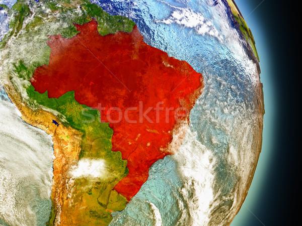 ブラジル 赤 スペース モデル 軌道 3次元の図 ストックフォト © Harlekino