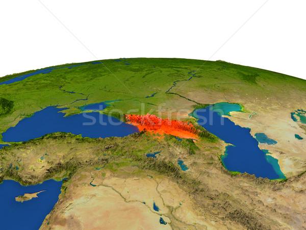 Georgia in red from orbit Stock photo © Harlekino