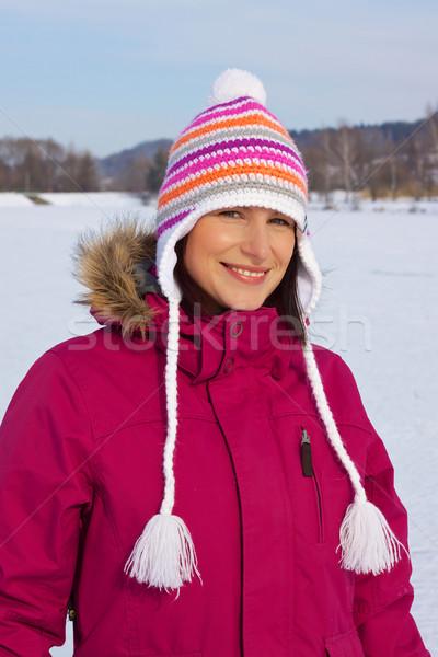улыбаясь девушки зима Cap Сток-фото © Harlekino