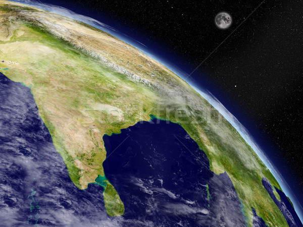Sous-continent indien espace planète terre détaillée planète Photo stock © Harlekino