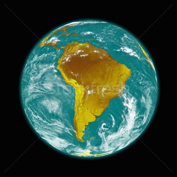 América del sur tierra planeta tierra aislado negro elementos Foto stock © Harlekino
