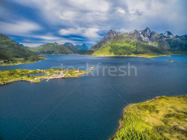 Fjord with church on Lofoten Stock photo © Harlekino