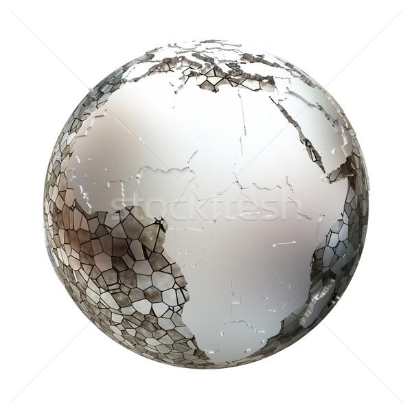 Africa on metallic Earth Stock photo © Harlekino