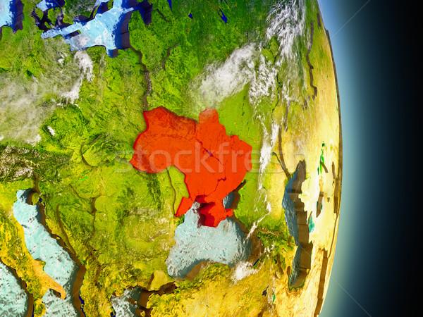 Ukraine in red from space Stock photo © Harlekino