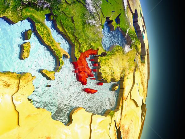 Греция красный пространстве модель орбита 3d иллюстрации Сток-фото © Harlekino