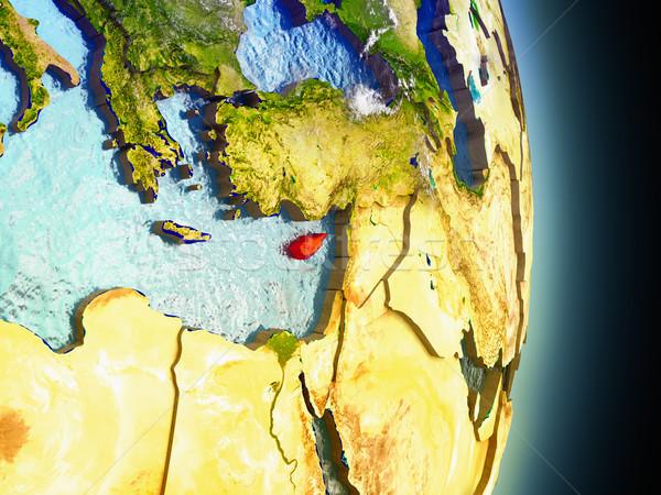 Кипр красный пространстве модель орбита 3d иллюстрации Сток-фото © Harlekino