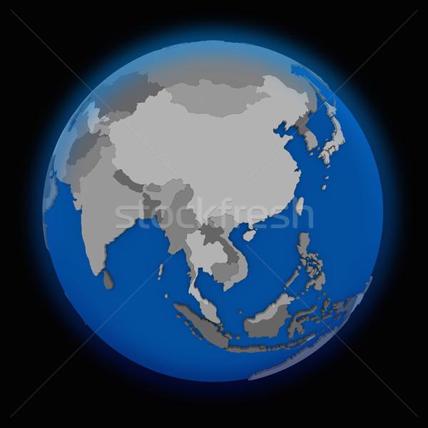 Güneydoğu asya siyasi toprak dünya siyah harita Stok fotoğraf © Harlekino