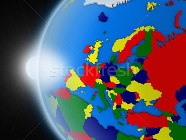 Gün batımı avrupa kıta uzay dünya gezegeni siyasi Stok fotoğraf © Harlekino