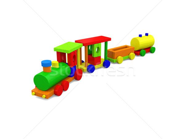 Mutlu oyuncak tren renkli ahşap oyuncak yalıtılmış Stok fotoğraf © Harlekino