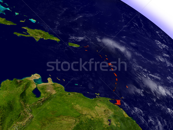 Caribbean from space highlighted in red Stock photo © Harlekino