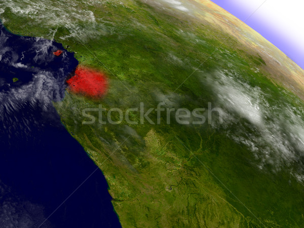 Equatorial Guinea from space highlighted in red Stock photo © Harlekino