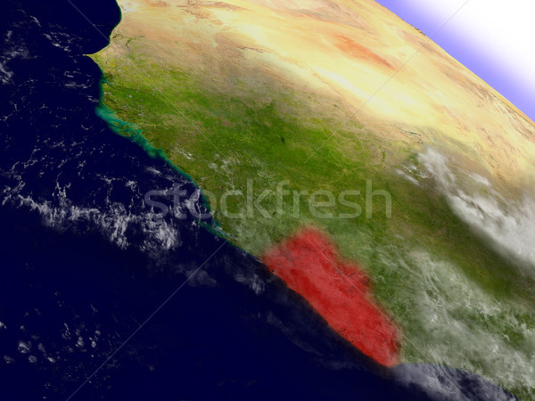Stock photo: Liberia from space highlighted in red