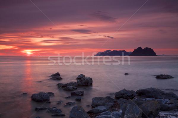 Gece yarısı güneş Norveç ada Avrupa Stok fotoğraf © Harlekino