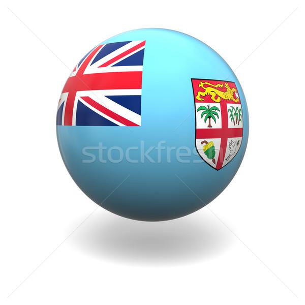 Fiji vlag bol geïsoleerd witte Stockfoto © Harlekino