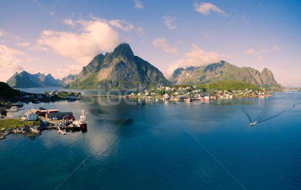 Norvégia lélegzetelállító légi panoráma halászat város Stock fotó © Harlekino