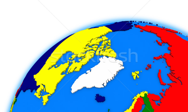 Arctic north polar region on globe political map Stock photo © Harlekino