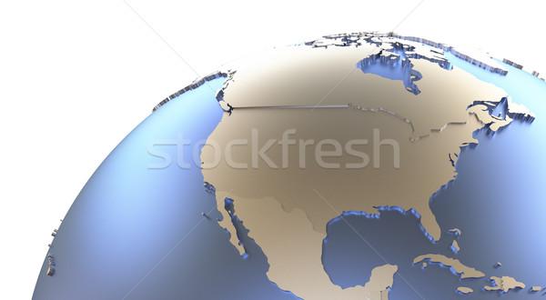 North America on metallic Earth Stock photo © Harlekino